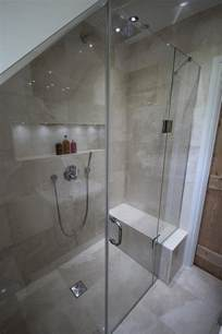 This bathroom was an awkward shape so we created a bespoke shower door