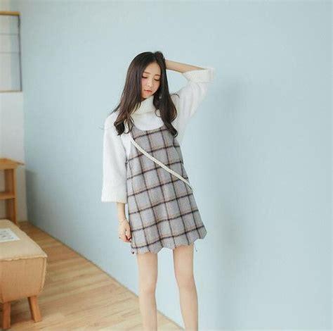Hem Korean Style korean style sling plaid print hem curve dress