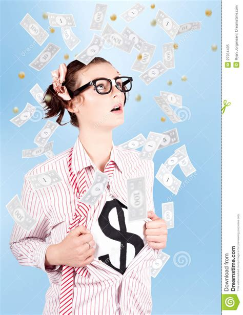 Dream About Winning Money - successful female business superhero winning money royalty free stock photo image