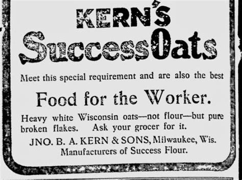 what is considered a light breakfast turn of the century america 1900 kern s success oats