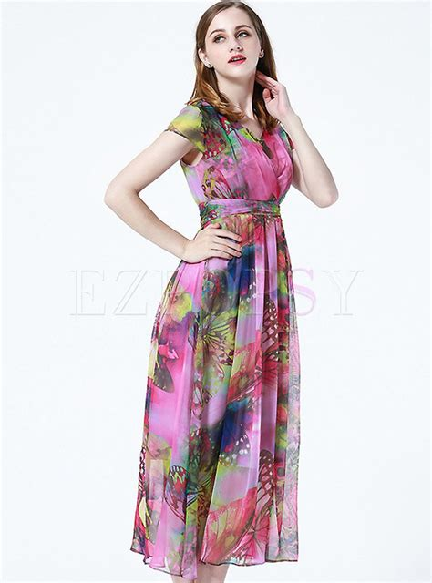 Sleeve Printed Maxi Dress v neck sleeve printed chiffon maxi dress ezpopsy