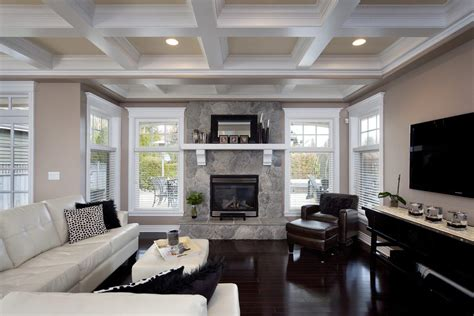 coffered ceiling paint ideas living room contemporary with neutral colors white window trim