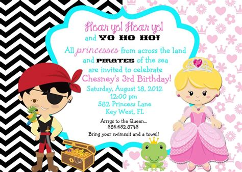 free princess and pirate invitation template princess and pirate invitation wording princess