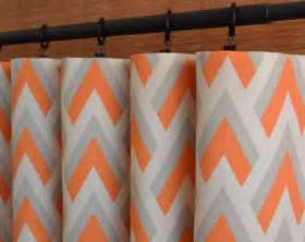 Navy Blackout Curtain Handmade Grey And Orange Curtains Etsy
