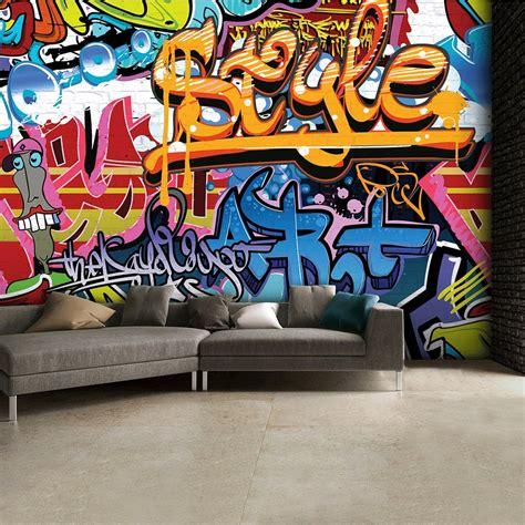 wallpaper that looks like graffiti brightly coloured street graffiti feature wallpaper mural