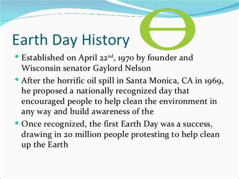 Earth Day Facts by Earth Day History Established On