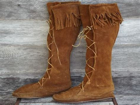 Handmade Leather Moccasin Boots - handmade vintage suede moccasin boots heavy fringed