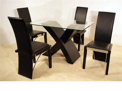 ash black small clear glass dining table and 4 chairs