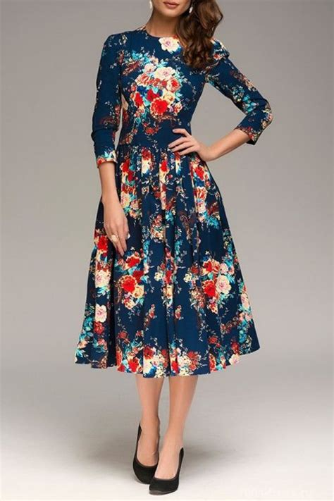 Black Retro Pattern Dress 25669 floral keyhole neckline sleeve dress retro print patterns and style