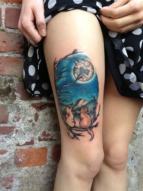 cat tattoo thigh leg tattoos and designs page 81