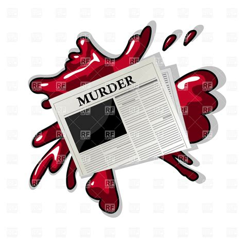 Murder Clipart newspaper with murder title a blood splash 6798 objects royalty free vector