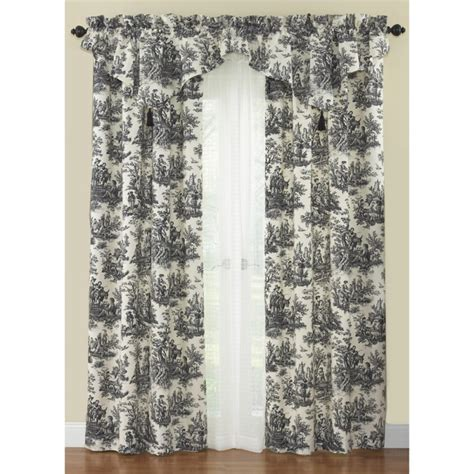 toile valance curtains waverly country life toile curtain panel and ascot valance