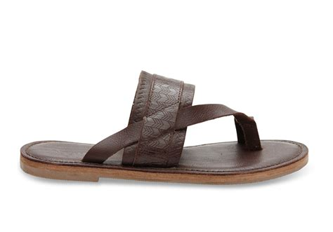s two sandals lyst toms mahogany leather emboss s isabela