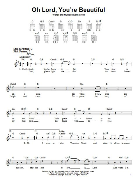 strumming pattern for you re beautiful oh lord you re beautiful sheet music