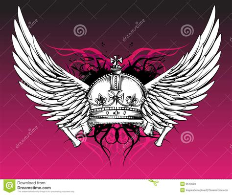 crown with wings tattoo crown and wings on pink stock vector image 9613693