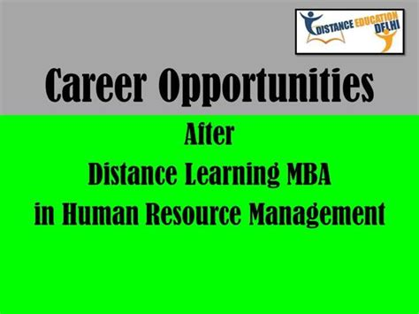 Opportunities After Distance Mba by Career After Distance Learning Mba In Human Resource