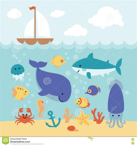 cartoon boat on the sea cute cartoon animals swimming under the sea and boat