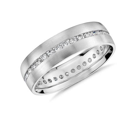channel set eternity ring in platinum 6mm blue