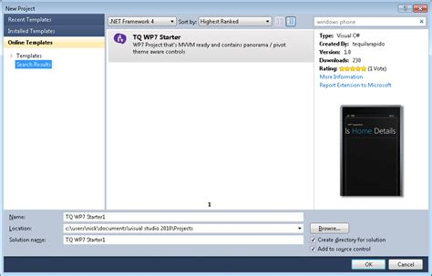 windows 7 templates windows phone 7 mvvm template for visual studio