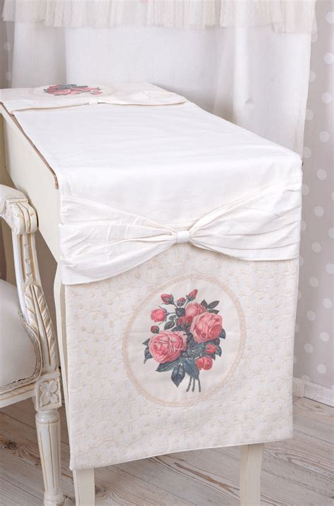 country style table runners tablecloth roses country style table runner white