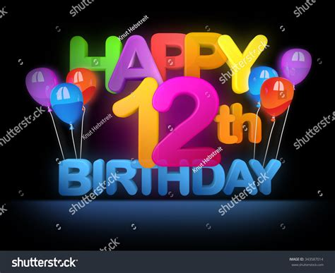 12 wishes of happy 12th birthday title stock photo 343587014