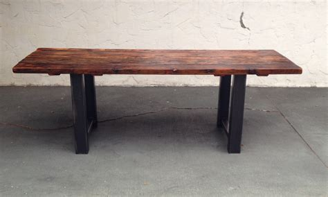 reclaimed wood dining table and bench reclaimed wood and steel dining table the coastal craftsman