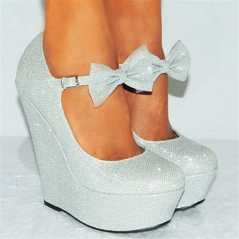 high heeled wedges silver glitter sparkly shimmer bow wedges high heel