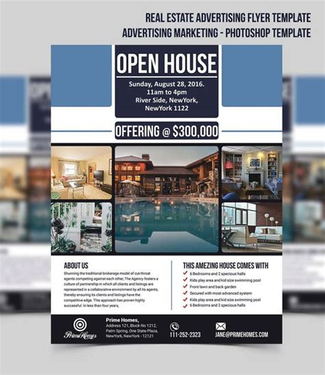 real estate advertisement template real estate advertising flyer open house template editable