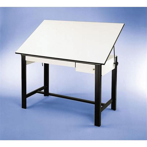 Drafting Table Supplies Alvin 37 5 Quot X 60 Quot Design Master 4 Post Drafting Table Tool And Reference Drawers Dm60ct