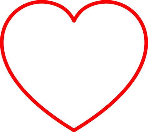 printable clip art hearts red heart outline clip art at clker com vector clip art