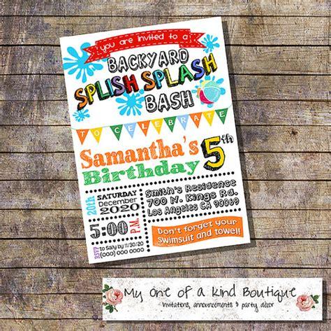 backyard birthday party invitations splish splash backyard bash birthday party invitation summer