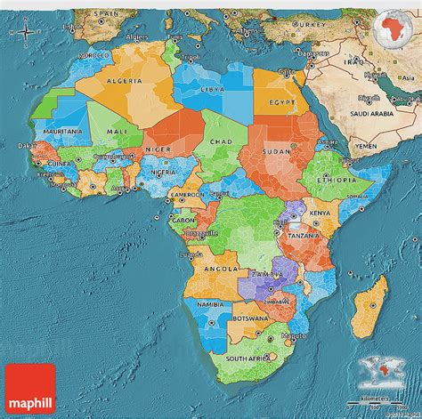 africa map 3d political 3d map of africa satellite outside