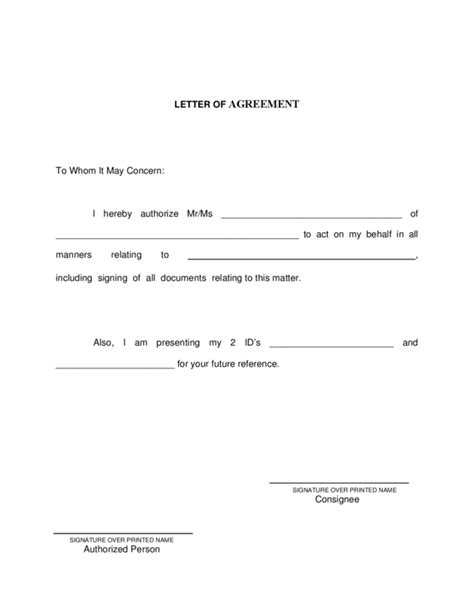 Letter Of Agreement Format Pdf Letter Of Agreement 3 Legalforms Org