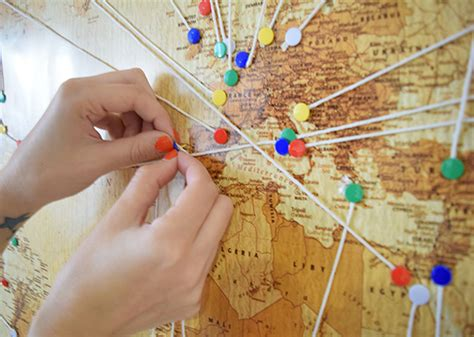 Map String - around the world in 80 photos d i y photo world map
