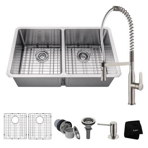 50 50 stainless steel undermount sink kraus handmade undermount stainless steel 33 in 50 50