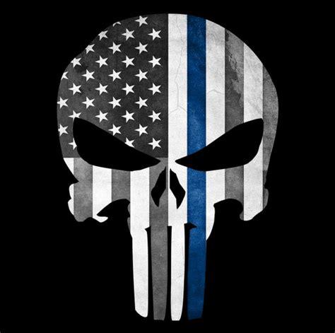 Wallpaper Sticker Fresh Blue Line punisher skull thin blue line american flag grunge decal