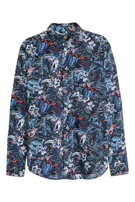Hm Flower Top Bordir Fit L cotton shirt relaxed fit black floral sale h m us