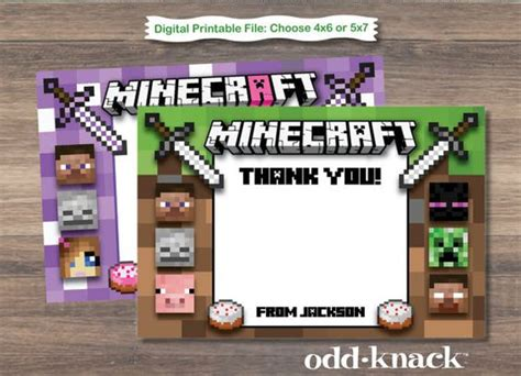 minecraft thank you card template thank you cards printable thank you cards and cards on