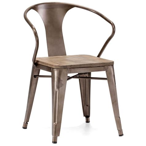Helix Armchair   Steel, Wood Seat, Faux Rust   DCG Stores