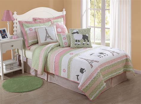 girl bedding girls quilt poodle paris eiffeltower pink green bedding ebay