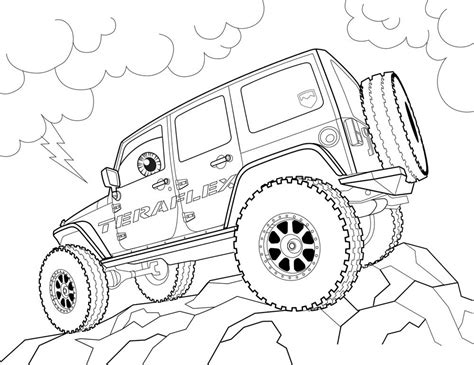 safari jeep drawing jeep free colouring pages