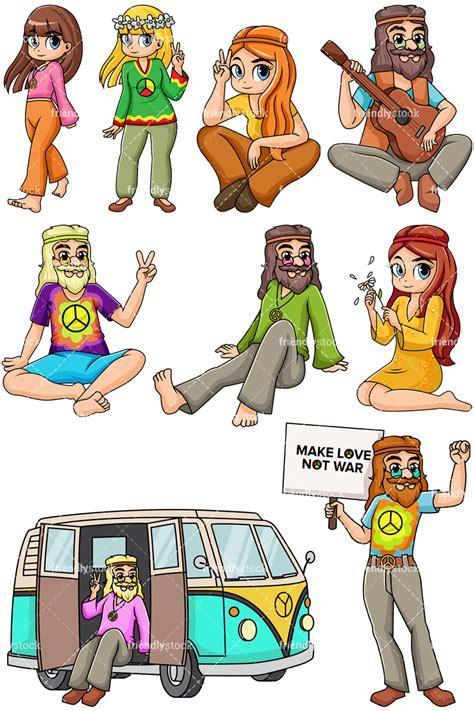 hippie clipart 1960s hippies vector clipart friendlystock