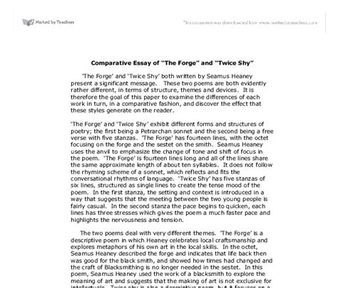 Block Style Writing Essay by Comparative Essay Of Quot The Forge Quot And Quot Quot Gcse Marked By Teachers