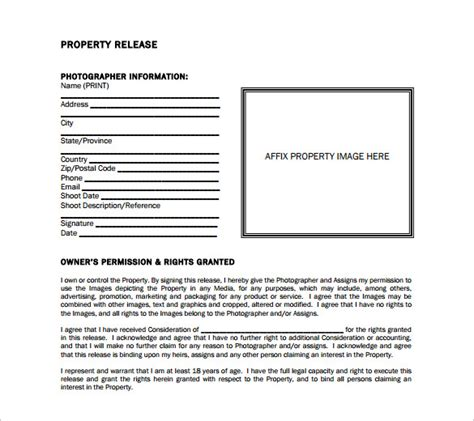 property release form template 15 property release forms to for free sle