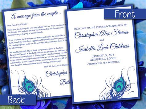 half fold wedding program template half fold wedding program template peacock feather horizon