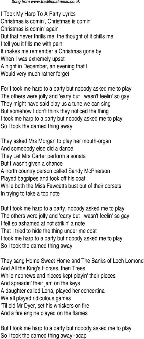 best party song lyrics 1940s top songs lyrics for i took my harp to a party