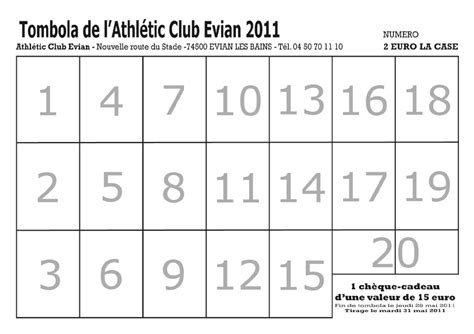Grille De Tombola by Tombola Athletic Club Evian
