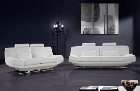 White Leather Set by Viper White Leather Sofa Set With Adjustable Headrests