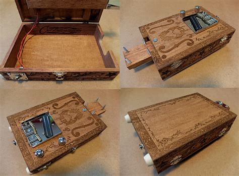 Handmade Cigar Box Guitars - handmade engraved 6 string cigar box guitar opening