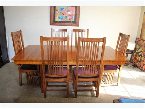 oak dining room table and chairs solid quarter sawn oak mission dining room table and 6 chairs saanich victoria